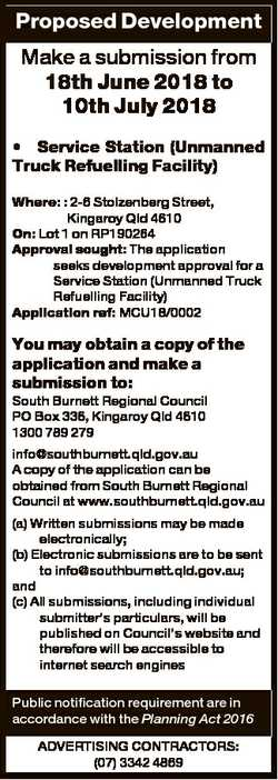 Proposed Development Make a submission from 18th June 2018 to 10th July 2018 * Service Station (Unma...