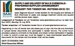 SUPPLY AND DELIVERY OF BULK CHEMICALS PREFERRED SUPPLIER ARRANGEMENT REQUEST FOR TENDER NO: IRCT2083...