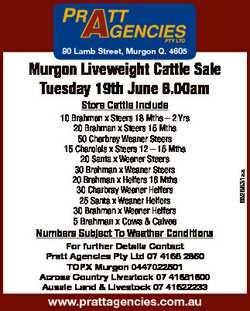 80 Lamb Street, Murgon Q. 4605 Murgon Liveweight Cattle Sale Tuesday 19th June 8.00am 5 Brahman x Co...