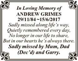 In Loving Memory of ANDREW GRIMES 29/11/84 15/6/2017 Sadly missed along life's way, Quietly reme...