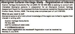 Aboriginal Cultural Heritage Study - Registration of Interest Everick Heritage Consultants Pty Ltd (...