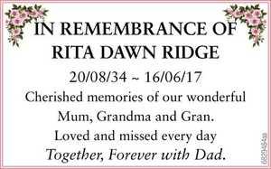 <p> 20/08/34 ~ 16/06/17 Cherished memories of our wonderful Mum, Grandma and Gran. Loved and...