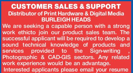 CUSTOMER SALES & SUPPORT   Distributor of Print Hardware & Digital Media BURLEIGH HEA...