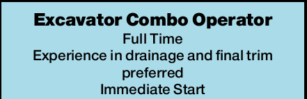 Excavator Combo Operator   Full Time   Require HR Licence, exp. in drainage & final t...
