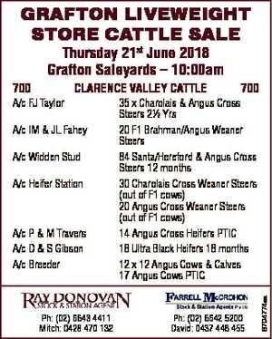 GRAFTON LIVEWEIGHT STORE CATTLE SALE Thursday 21st June 2018 Grafton Saleyards - 10:00am A/c FJ Taylor...