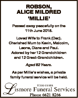 'MILLIE'   Passed away peacefully on the 11th June 2018.   Loved Wife to Frank (D...