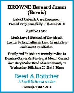 BROWNE Bernard James (Bernie) Late of Cabanda Care Rosewood. Passed away peacefully 14th June 2018 A...