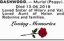 DASHWOOD. - Muriel (Peggy).    Died 13.06.2018    Loved Sister of Hilary and Val.   L...