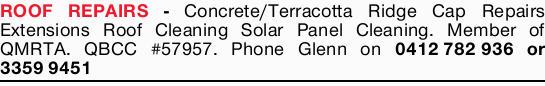 Concrete/Terracotta Ridge Cap Repairs Extensions Roof Cleaning Solar Panel Cleaning.   Member...