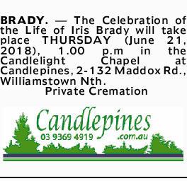 BRADY, Iris   Funeral Notices   Notices   Herald Sun