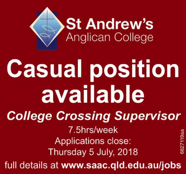 Casual position available   College Crossing Supervisor 7.5hrs/week   Applications close:...