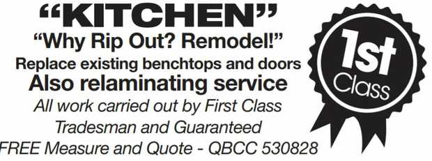 Why rip out? REMODEL!    Replace existing benchtops and doors   Also Relaminating Service...