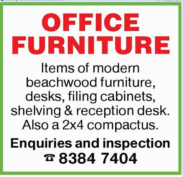 Items of modern beachwood furniture  Desks  Filing cabinets  Shelving & re...