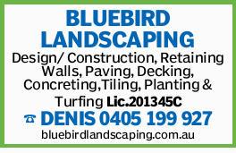 BLUEBIRD LANDSCAPING Design/ Construction, Retaining Walls, Paving, Decking, Concreting,Tiling, P...