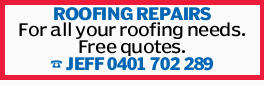 ROOFING REPAIRS.   For all your roofing needs.   Free quotes.   30 Years exp .   ...