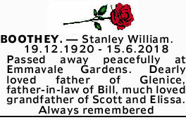BOOTHEY. _ Stanley William.   19.12.1920 - 15.6.2018   Passed away peacefully at Emmavale...