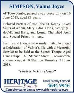 SIMPSON, Valma Joyce of Toowoomba, passed away peacefully on 10 June 2018, aged 89 years. Beloved Pa...