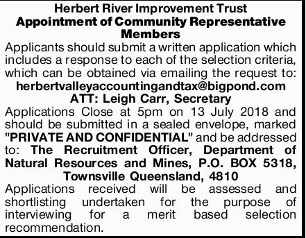 Herbert River Improvement Trust   Appointment of Community Representative Members   Appli...