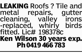 LEAKING Roofs ? Tile and metal repairs, gutter cleaning, valley irons -replaced, whirly birds fit...