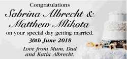 Congratulations   Sabrina Albrecht & Matthew Mlikota   on your special day getting ma...