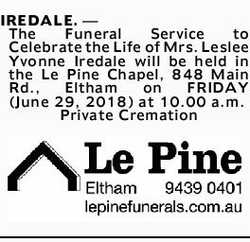 IREDALE.- The Funeral Service to Celebrate the Life of Mrs. Leslee Yvonne Iredale will be h...