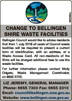6825369ab CHANGE TO BELLINGEN SHIRE WASTE FACILITIES Bellingen Council would like to advise residents...