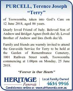 """PURCELL, Terence Joseph """"Terry"""" of Toowoomba, taken into God's Care on 12 June 2018, a..."""