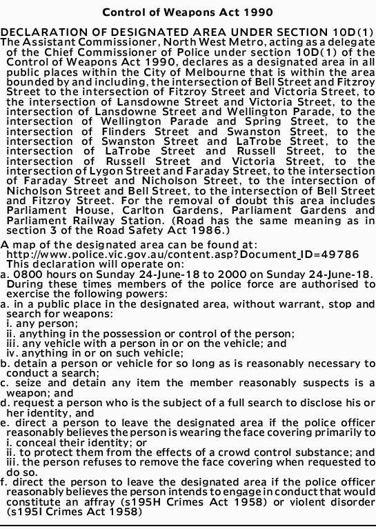Control of Weapons Act 1990 DECLARATION OF DESIGNATED AREA UNDER SECTION 10D(1) The Assistant Com...