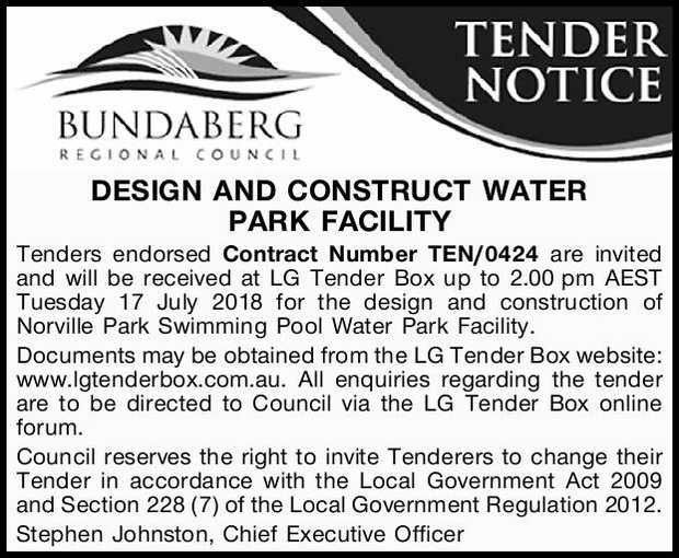 Bundaberg Regional Councal          DESIGN AND CONSTRUCT WATER PARK FACIL...