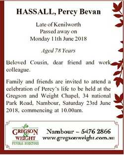HASSALL, Percy Bevan Late of Kenilworth Passed away on Monday 11th June 2018 Aged 78 Years Beloved C...