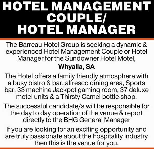 HOTEL MANAGEMENT COUPLE/ HOTEL MANAGER