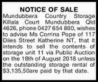 NOTICE OF SALE