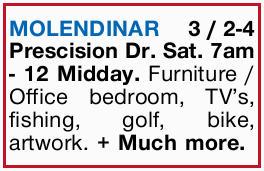 <p> Sat. 7am - 12 Midday. Furniture / Office bedroom, TV's, fishing, golf, bike, artwork. + Much...