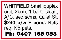 Small duplex unit, 2brm, 1 bath, clean, A/C, sec scrns, Quiet St. $240 p/w + bond. Refs req...