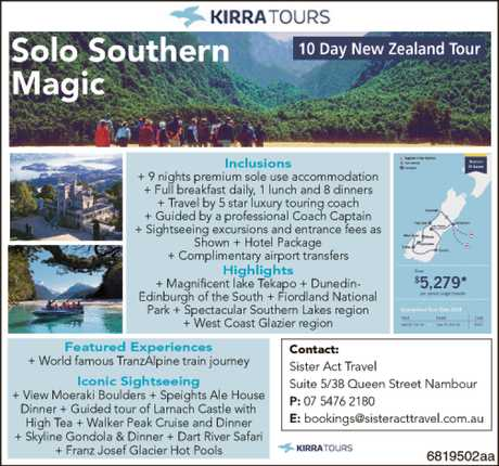 <p> Solo Southern Magic - 10 day New Zealand Tour </p> <p> call Sister Act </p>
