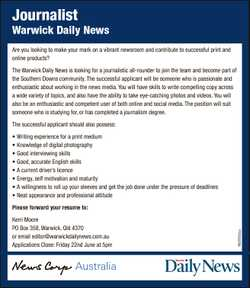 Journalist Warwick Daily News Are you looking to make your mark on a vibrant newsroom and contribute...