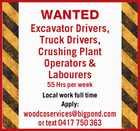 Excavator Drivers, Truck Drivers, Crushing Plant Operators & Labourers