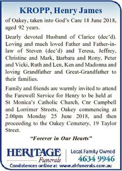 KROPP, Henry James of Oakey, taken into God's Care 18 June 2018, aged 92 years. Dearly devoted H...