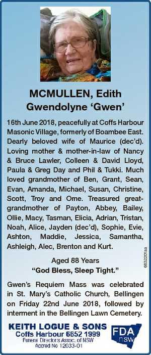 "MCMULLEN, Edith Gwendolyne `Gwen' Aged 88 Years ""God Bless, Sleep Tight."" 6832201aa 16th..."