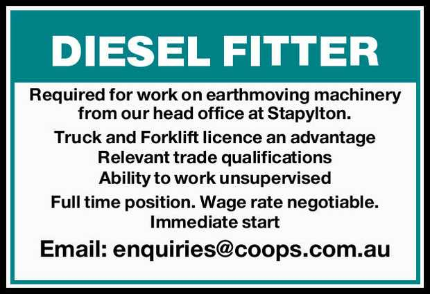 Required for work on earthmoving machinery from our head office at Stapylton.   Truck and For...