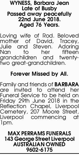 Obituaries, Funeral and Death Notices in Northern Territory