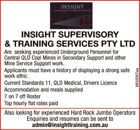 <p> Are seeking experienced Underground Personnel for<br /> Central QLD Coal Mines in Secondary...</p>