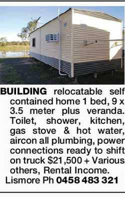BUILDING relocatable self contained home 1 bed, 9 x 3.5 meter plus veranda.