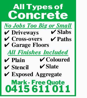 No Jobs Too Big or Small    Driveways  Cross-overs  Garage Floors  Slabs ...