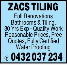 ZACS TILING   Full Renovations   Bathrooms & Tiling   30 Yrs Exp   Qual...