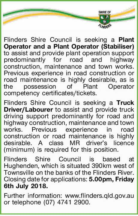 <p> Flinders Shire Council is seeking a <strong>Plant Operator and a Plant Operator (Stabiliser)...</strong></p>