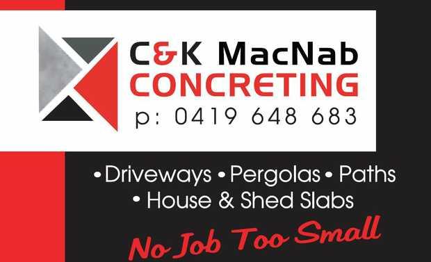 C & K MacNab Concreting    P: 0419 648 683     Driveways  Pergolas   Pat...