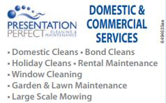 <p> <br /> •Domestic Cleans<br /> •Bond Cleans<br /> •Holiday Cleans</p>