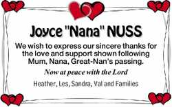 """Joyce """"Nana"""" NUSS  We wish to express our sincere thanks for the love and supp..."""
