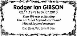 Rodger Ian GIBSON  02.11.1979 to 07.07.2010  Your life was a blessing  You are...
